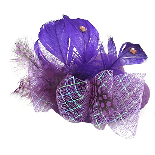 Lady Bowtie Net Feder Dekor-Party-Bogen-Haar-Klipp-Minispitzenhut Lila