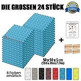 Super Dash (24 Pack) von 50 X 50 X 5 cm Hellblau Pyramide Akustikschaumstoff Noppenschaumstoff Akustik Dämmmatte Schallisolierung Schaumstoff Polster Fliesen SD1034 (HELLBLAU)
