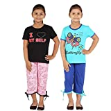 FICTIF Kid Girl's Top & Capri Set (2FG303ILRB Black&Pink,Light Blue&Dark Blue Capri Set) Pack Of 3