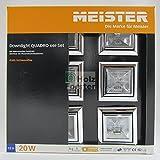 MEISTER Downlight Quadro 12Volt 20Watt, Chrom, 6er Set