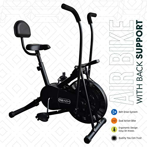 Reach Ab-110 Fitness Air Bike with Moving/Stationary Handle Adjustment with...