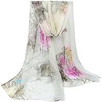 Leisial Suave Gasa de Seda de Bufanda de Impreso Flor Chal de Abrigo Bufanda Diseño Mujeres