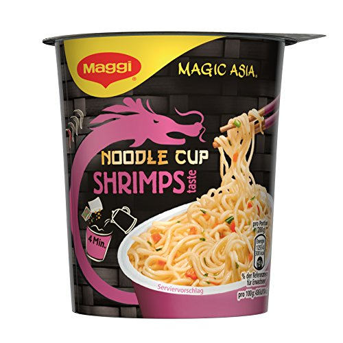 Maggi Magic Asia Noodle Cups Shrimps, 8er Pack (8 x 63 g)