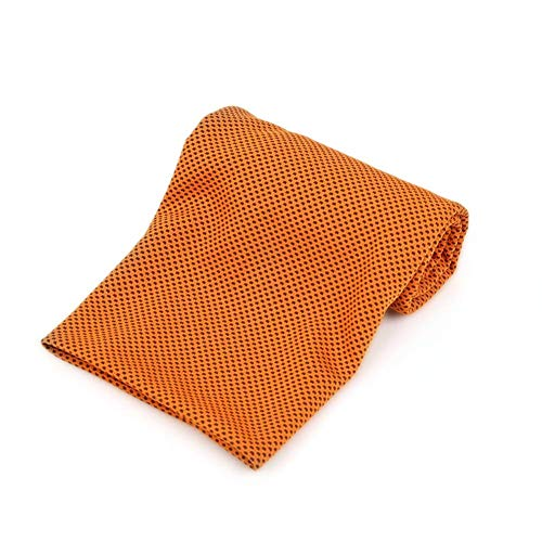 EUYOUZI Ice Cold Sweat Towel Double Sided Super Soft Absorbent Microfibres Designed Gym Quick Dry Towel Instant Cool Ice Towel for Instant Cooling Relief (Orange) -