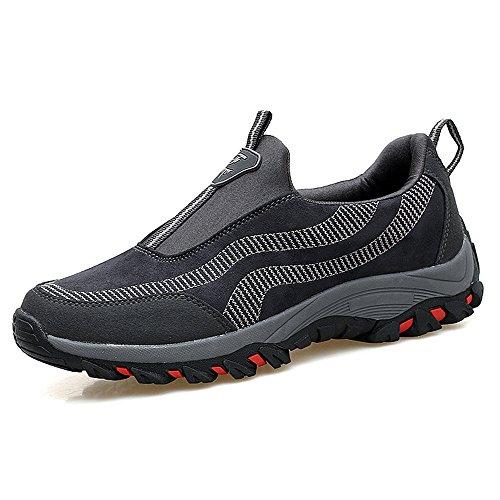 Sneakers Uomo da Fitness Sportive Scarpe de Arrampicata Ginnastica Suede Casuale Caldo Traspirante per Vecchio Trekking Camping Basse Loafer Nero Blu Grigio Grigio 44