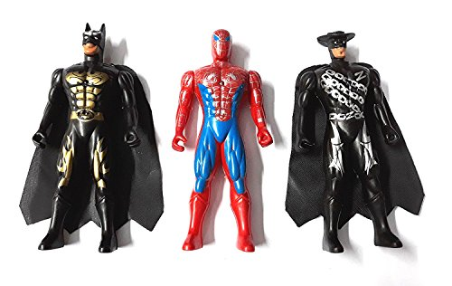 JMK Toys Kid's Super Hero Team Set Avengers with LED Light on Chest Batman,Spiderman and the Mask Man Action Figure, Small (Multicolour)- Pack of 3