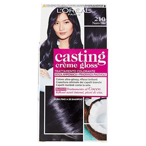 L'oréal paris colorazione capelli casting crème gloss, tinta colore senza ammoniaca, fragranza piacevole, 210 nero blu