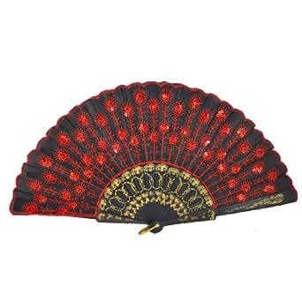 TOOGOO(R) Eventail pliant a la main pour la femme Tissu noir Motif de paon rouge