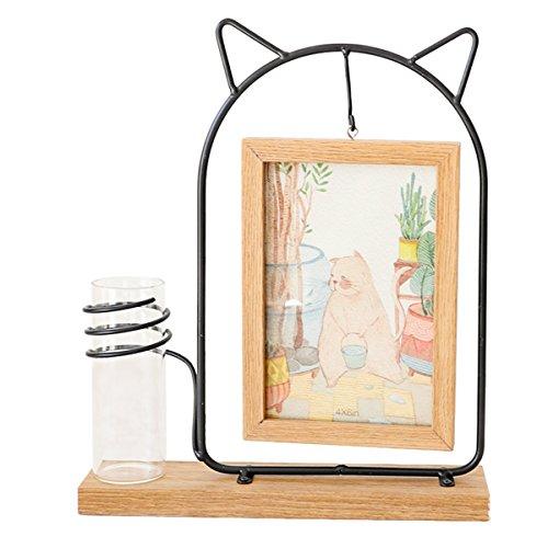 Rustikale Collage Familie Hängen Holz 4X6 Bilderrahmen mit Glas Wasserpflanze Vase für Heimtextilien (Katze) (Bilderrahmen Glas 4x6)