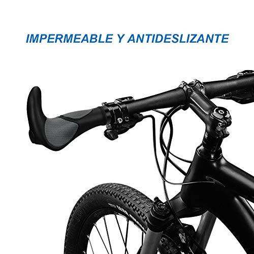 Gindoly Puños Manillar de Bicicleta Diseño Ergonómico Caucho Tipo Universal para Bici de Montaña MTB y Má