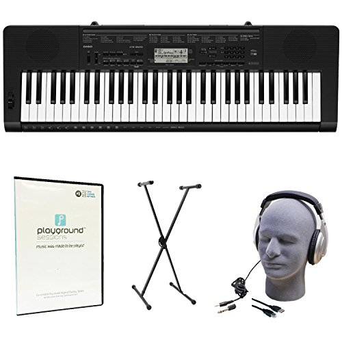 Casio CTK-3500 Quincy Jones Keyboard Bundle with Playground Sessions Software, Keyboard Stand, Headphones, Power Supply, and USB Cable