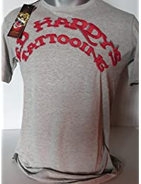 Ed hardy hommes t-shirt pour homme taille s/s crew blue motif dragon tattooing brodé gris/rouge-taille s
