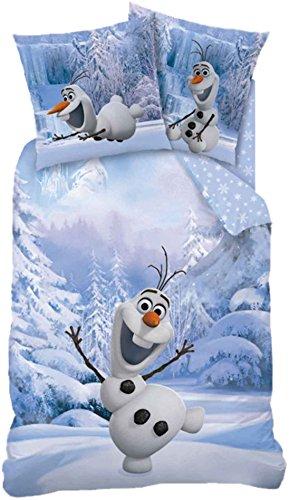 LINON KINDER WENDE BETTWÄSCHE FROZEN SNOWMAN OLAF - DIE EISKÖNIGIN 135 x 200 cm 80 x 80 cm - 100% BAUMWOLLE - ANNA ELSA SVEN KRISTOFF - SCHNEEMANN