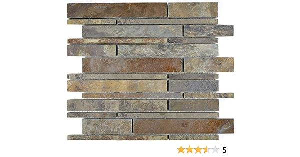 mosaique carrelage ardoise pierre naturelle rouille brick ardoise rustik plateau pour revetement sol miroir mural