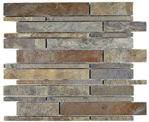 Mosaik Fliese Schiefer Naturstein rost Brick Schiefer rustik für BODEN WAND BAD WC DUSCHE KÜCHE FLIESENSPIEGEL THEKENVERKLEIDUNG BADEWANNENVERKLEIDUNG Mosaikmatte Mosaikplatte