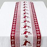 Bolange Weihnachtstischdecke Weihnachtsrotwild-Drucktabellenflagge, 35 * 170cm schöner Leinenweiß-Rotelch mit Wohnzimmerdekoration