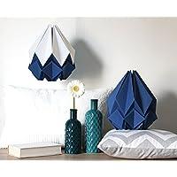 Suspension origami Hanahi blanc neige et bleu marin fait main