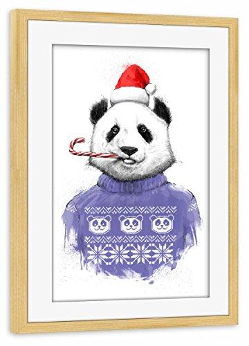 artboxONE Poster mit Rahmen kiefer 60x40 cm 'Christmas panda' von Nikita Korenkov -...