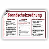 BRANDSCHUTZORDNUNG / Brandverhütung / Alarmplan / Verhalten im Brandfall - SCHILD / D-039 (30x20cm Aufkleber)