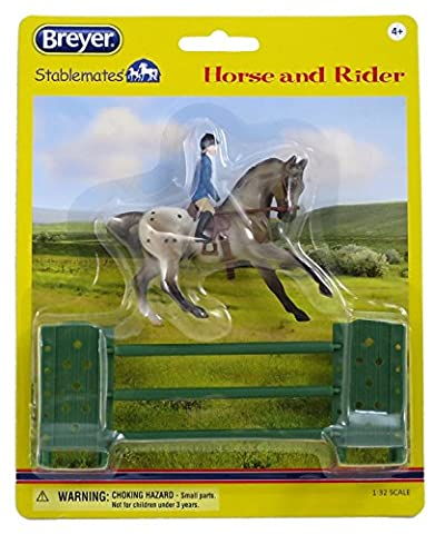 Breyer Stablemates Fancy Semi Leopard Show Jumping English Appaloosa Horse with Female Rider and Jump by REEVES