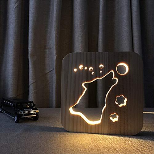 Howling Hund Holz Lampe Lampe Kinder Schlafzimmer Dekoration warmweiß einzigartiges Licht Geburtstagsfeier Home Office Dekoration Drop Boot