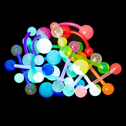 20 Mixed Glow Bio-Flex Body Jewelry Pack - 14ga Bioflex/Acrylic Belly and Straight Bars by BodyJewelryOnline (Flex Bar Body)