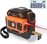 Misura di nastro laser, TACKLIFE metro a nastro e telemetro laser 2 in 1, schermo retroilluminato, misurazione continua, calibrazione regolabile, autobloccante, gancio attivo, due batterie AAA, TM-L01