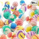 THE TWIDDLERS 90 Stück Flummi, Gummiball & Springball Set für Kinder in Verschiedene Designs & Farben – Ideale Kindergeburtstag Spielzeug Give Aways, Mitbringsel & Mitgebsel
