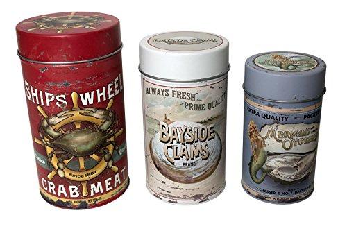 OHIO WHOLESALE Metalldosen für Meeresfrüchte, Vintage-Design, für Zuhause, Küche, Dekoration, luftdichte Aufbewahrung, 3 Stück