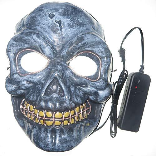 WULIHONG-maskenmaske Beleuchtung led neon schädel Maske Party Festival Cosplay kostüm Weihnachten Weihnachten neujahr Geschenk Halloween Scary Horror MaskeIce Blue (Blue Mann Group Kostüm Für Erwachsene)