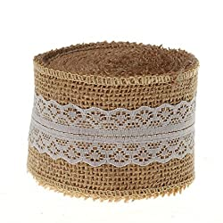 Super More 10 Yards Natural Hessian Burlap Ribbon Roll with Lace Ribbon 2 Inch Wide (White)