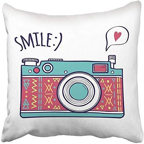 Fhdang decor graziosa federa per cuscino, personalizzabile, con citazione quadrata e scritta in lingua inglese smile in stile retrò, con fumetti e cuore, per la festa del papà