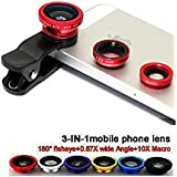 Betkin Universal 3 In 1 Cell Phone Camera Lens Kit -Fish Eye Lens, 2 In 1 Macro Lens & Wide Angle Lens For Android/iOS Devices (Color May Vary)