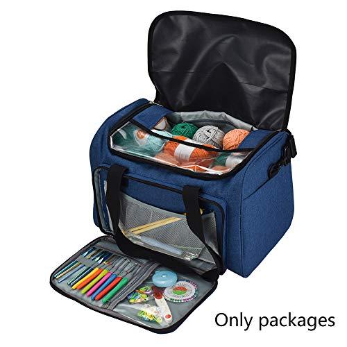 Aufbewahrungstasche für Stricken, Häkeln, tragbare Garnaufbewahrungstasche Oxford Tasche für Garn, Wolle, Häkelnadeln und andere Strickutensilien Free Size denim-blau -