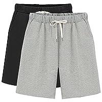 Gooket Women's Elastic Waist Soft Knit Jersey Bermuda Shorts with Drawstring 2 Pack Black+Grey Tag M-US 0