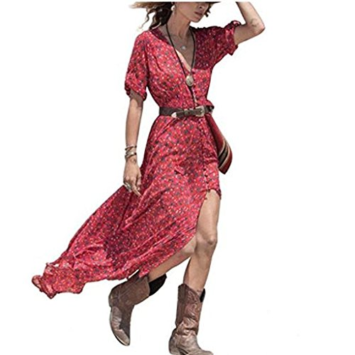 Femmes Robe de soirée longue,Tonwalk Femmes Boho Été Floral Party Beach Robe Rouge