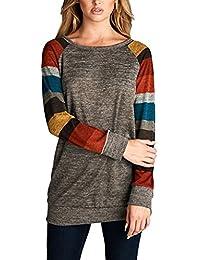 32d595d311047 Kinikiss Women s Cotton Knitted Long Sleeve Lightweight Tunic Sweatshirt  Tops Casual T-shirt Dress