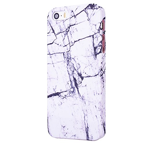 GrandEver iPhone 5S Marmor Hülle, iPhone SE Hartschale, iPhone 5 Marble Case Hardcase Blau Stein Malerei Muster Schutzhülle Handyhülle Hartcase Hartplastik Design Tasche Schutz Etui Protective Smart C Weiß