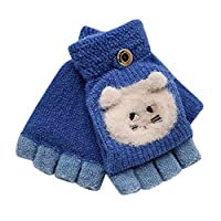 Bibao Baby Boy Girl Cute Winter Gloves, Knitted Convertible Soft Flip Top Fingerless Mittens Gloves for 1-3 Years Baby