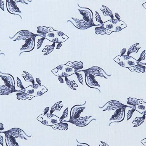 Timeless Treasures Tissu en Coton Bleu Clair avec des Poissons