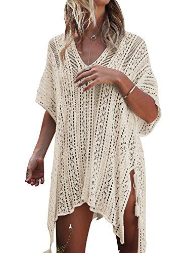 Strandkleid Damen Kurze Kleid Badeanzug Bikini Spitze Crochet Cover Up (Beige, XL)