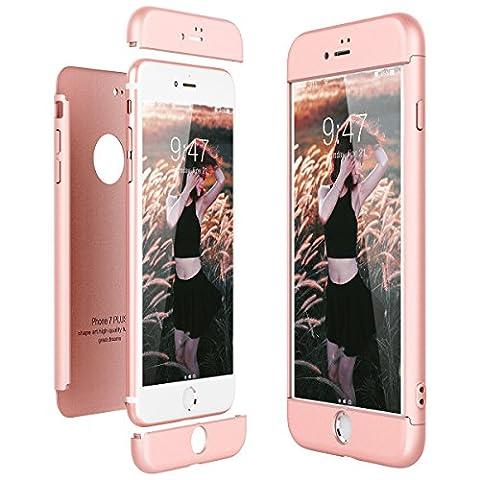 Housse Etui en PC Matière pour iPhone 7 Plus, CE-Link coque iPhone 7+, Ultra-Mince 3 Part Combinaison Dur Rigide coque, 360 Degrés Complète Protecteur Anti-égratignures Solide PC Plastique coque Housse Etui Cover pour Apple iPhone 7 Plus Anti Fine - Or Rose