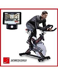 Sportstech Cycle intérieur SX400 professionnelle avec contrôle de l'application smartphone + Google Street View, volant 22KG, support de bras, compatible ceinture d'impulsion - Speedbike en qualité studio avec un système à faible bruit entraînement par courroie - vélo ergomètre jusqu'à 150 KG