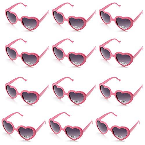 OAONNEA 12 stück Neon Farben Party Sonnenbrillen Set für Kinder Erwachsene Partybrille Herzform Party Favors und Festival (12pink)