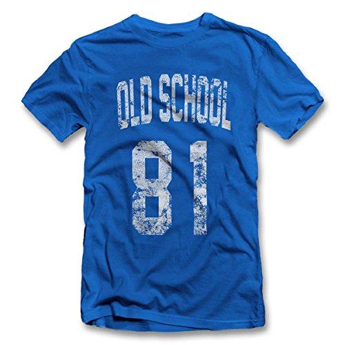 Oldschool 1981 T-Shirt S-XXL 12 Colori / Colours Blu Royal