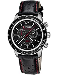 WENGER  Unisex-Armbanduhr 01.0853.105 ROADSTER BLACK NIGHT CHRONO Analog Quarz Leder 01.0853.105 ROADSTER BLACK NIGHT CHRONO