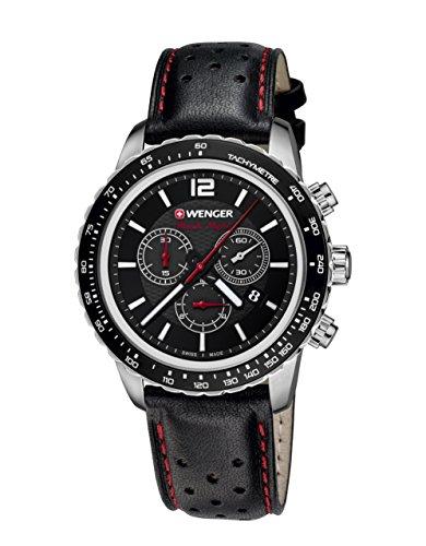 WENGER  Unisex-Armbanduhr 01.0853.105 ROADSTER BLACK NIGHT CHRONO Analog Quarz Leder 01.0853.105 ROADSTER BLACK NIGHT CHRONO