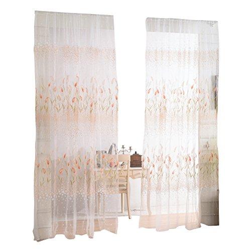 Winomo voile tenda trasparente tende porta finestra sciarpa tende per soggiorno camera da letto parete (giallo)