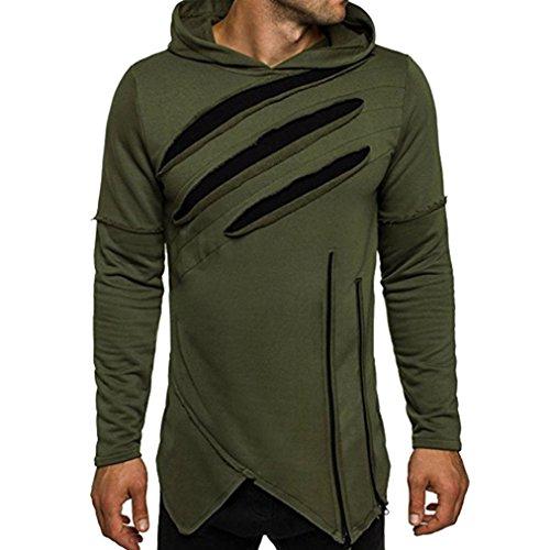 Price comparison product image Men T-shirtMen's Long Sleeve Hoodie Hooded Sweatshirt Tops Jacket Coat Outwear (XXL,  Army Green)