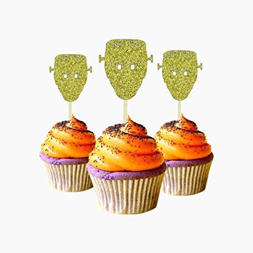 Monster Halloween Cupcake Topper 12 Stück pro Packung Dekoration Kuchen Glitzer Karte Stock Gold